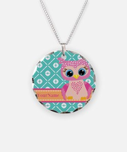 Cute Pink Little Owl Persona Necklace Circle Charm