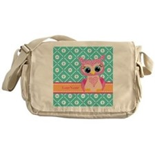 Cute Pink Little Owl Personalized Messenger Bag