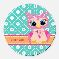 Cute Pink Little Owl Personalized Round Car Magnet