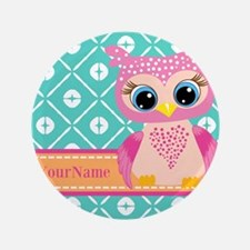 "Cute Pink Little Owl Personalized 3.5"" Button"