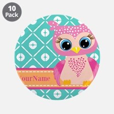 """Cute Pink Little Owl Persona 3.5"""" Button (10 pack)"""