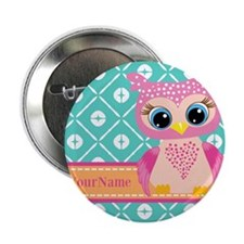 """Cute Pink Little Owl Personalized 2.25"""" Button"""