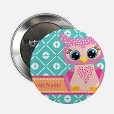 "Cute Pink Little Owl Personalized 2.25"" Button"