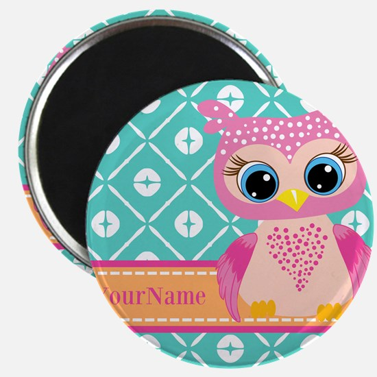 """Cute Pink Little Owl Perso 2.25"""" Magnet (100 pack)"""