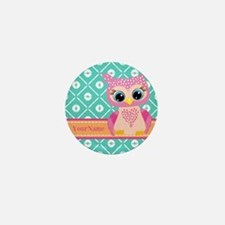 Cute Pink Little Owl Personalized Mini Button