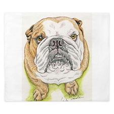 english bulldog drawing King Duvet