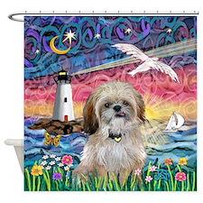Lighthouse-Seagull-Shih (P) Shower Curtain