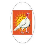 Sunburst White Turkey Oval Sticker