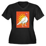 Sunburst White Turkey Women's Plus Size V-Neck Dar