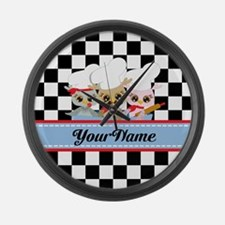 Personalized Chef Owls Mustache Large Wall Clock