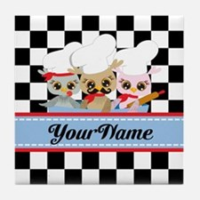 Personalized Chef Owls Mustache Tile Coaster