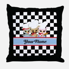 Personalized Chef Owls Mustache Throw Pillow