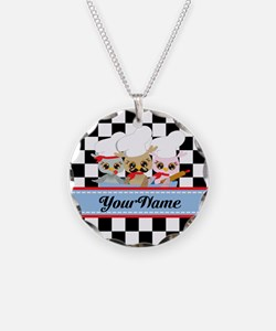 Personalized Chef Owls Musta Necklace