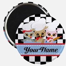 Personalized Chef Owls Mustache Magnet