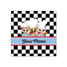 """Personalized Chef Owls Must Square Sticker 3"""" x 3"""""""