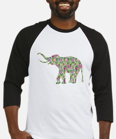 Colorful retro floral elephant. purple and green B
