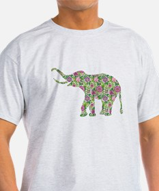 Colorful retro floral elephant. purple and green T