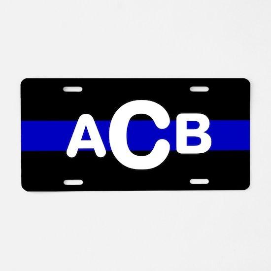 Personalized Blue Line Aluminum License Plate