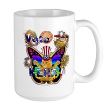 Mug Vote for Kerry Butterfly kitty