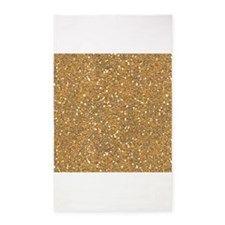 Gold Sparkle Glitter Shiny Pattern 3'x5' Area Rug