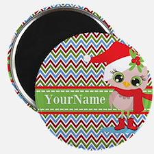 Chevron Christmas Owl Personalized Magnet