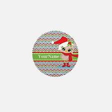 Chevron Christmas Owl Personalized Mini Button