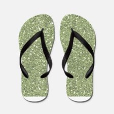 Lime Green Sparkle Glitter Shiny Pattern Flip Flop