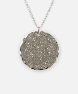 Silver Sparkle Glitter Shiny Pattern Necklace