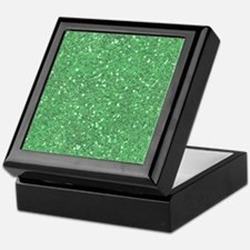 Green Sparkle Glitter Shiny Pattern Keepsake Box