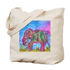Rainbow Tribal Elephant by Vanessa Curtis Tote Bag