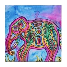 Rainbow Tribal Elephant by Vanessa Curtis Tile Coa
