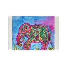 Rainbow Tribal Elephant by Vanessa Curtis Magnets
