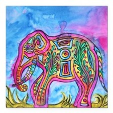 Rainbow Tribal Elephant by Vanessa Curtis Square C