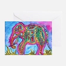 Rainbow Tribal Elephant By Vanessa Greeting Cards