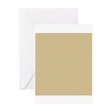 Yellow Tan Autumn Chevron Stripes Greeting Cards