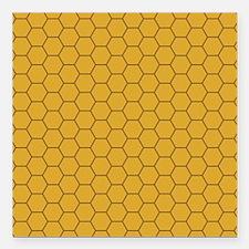Golden Brown Honeycomb Hexagon Square Car Magnet 3
