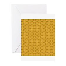 Golden Brown Honeycomb Hexagon Greeting Cards