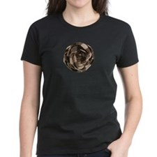 Brown Tan Fabric Flower T-Shirt