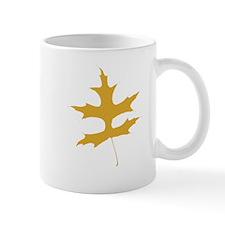 Yellow Autumn Leaf Silhouette Mugs