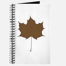 Brown Autumn Leaf Silhouette Journal