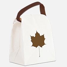 Brown Autumn Leaf Silhouette Canvas Lunch Bag