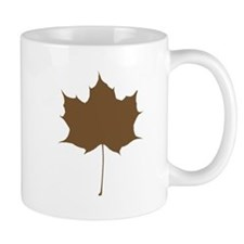 Brown Autumn Leaf Silhouette Mugs