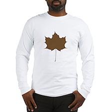 Brown Autumn Leaf Silhouette Long Sleeve T-Shirt