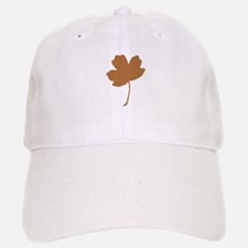 Golden Brown Autumn Leaf Silhouette Baseball Baseball Baseball Cap