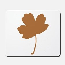 Golden Brown Autumn Leaf Silhouette Mousepad