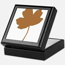 Golden Brown Autumn Leaf Silhouette Keepsake Box