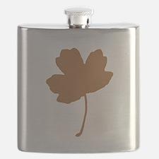Golden Brown Autumn Leaf Silhouette Flask