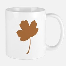 Golden Brown Autumn Leaf Silhouette Mugs