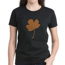 Golden Brown Autumn Leaf Silhouette T-Shirt