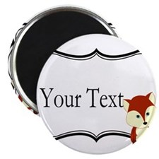 Personalizable Red Fox on Black Magnets